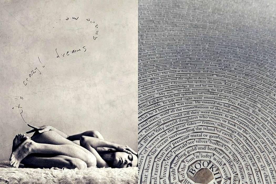 אישה שוכבת על הרצפה, עיגולים של מילים, משפטים, אותיות - התחלה נקודה סוף. מתוך הבלוג של תמרי אנד מי