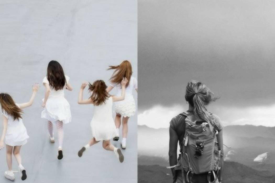 ילדות קופצות, קפיצה מצוק, התבוננות קדימה. סיכות בצבע זהב. פוסט מתוך הבלוג של תמרי אנד מי פוסט על פעם ראשונה. תמרי סלונים ליבס