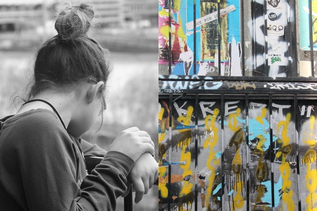 מיינד דה גאפ פוסט על לונדון. בבלוג של tamariandme. תמרי סלונים ליבס. גרפיטי בשורדיץ', ילדה מתבוננת למטה