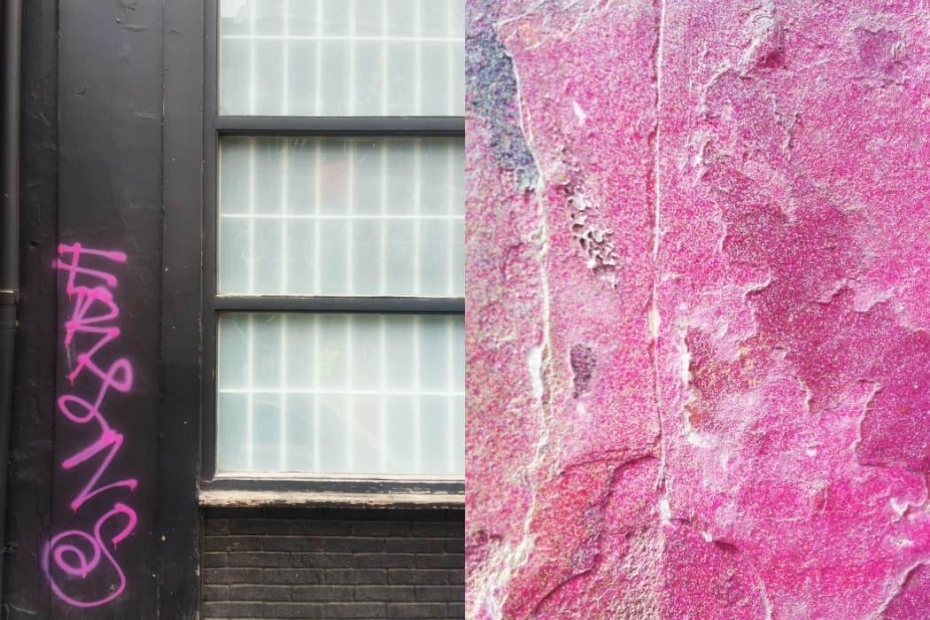 מיינד דה גאפ פוסט על לונדון. בבלוג של tamariandme. תמרי סלונים ליבס. קיר מתקלף צבוע ורוד וחלון בשכונת שורדיץ'