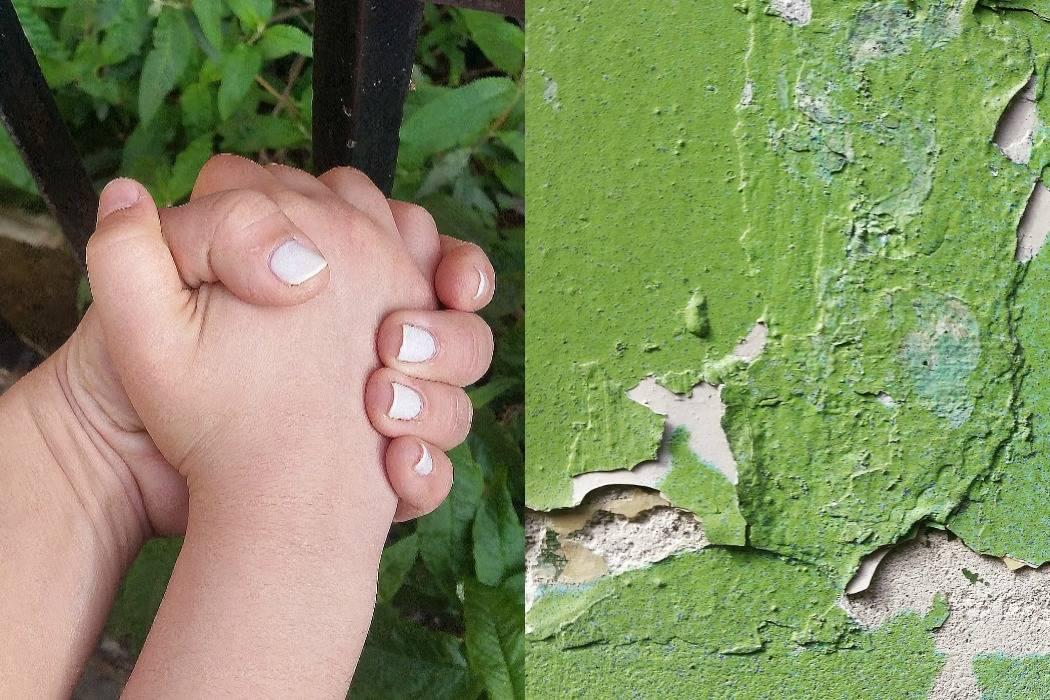 מיינד דה גאפ פוסט על לונדון. בבלוג של tamariandme. תמרי סלונים ליבס. קיר ירוק מתקלף, ידיים אמא ובת