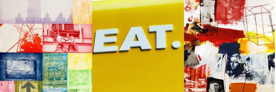 מיינד דה גאפ פוסט על לונדון. בבלוג של tamariandme. תמרי סלונים ליבס. עבודות של רוברט ראושנברג, המילה אוכל באנגלית על קיר צהוב