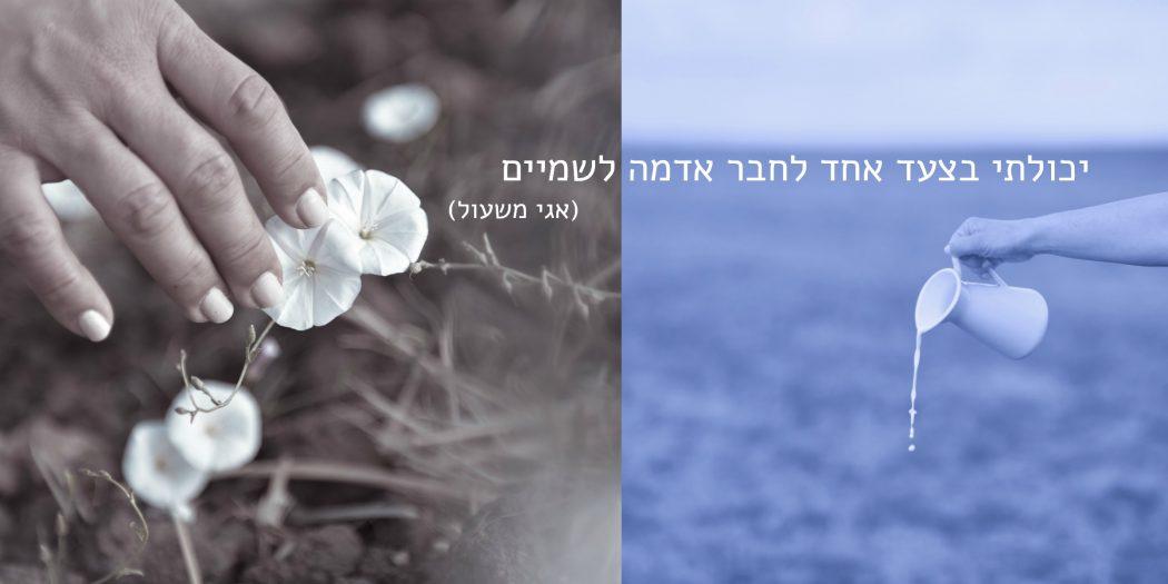 כד חלב בשדה כחול וידיים נוגעו בפרחים לבנים. צילום: טלי רצקר. מתוך הפוסט חיבוק של אדמה בבלוג של תמרי סלונים ליבס tamariandme.com