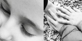 ידיים של ילדים, פנים של ילדה צילום בשחור לבן