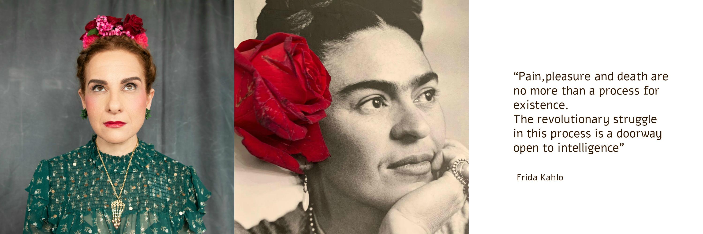 תמרי סלונים ליבס מתוך הבלוג https://tamariandme.com/ בפוסט: עיגולים של שמחה עיגולים של כאב בהשארת הציירת פרידה קאלו Frida kahlo. צילום עידו לביא (מלבד התמונה של פרידה מהספר Frida Kahlo at home), סטיילינג הילה חילו עמרני, שיער רביד פלג, איפור מילי מזרחי